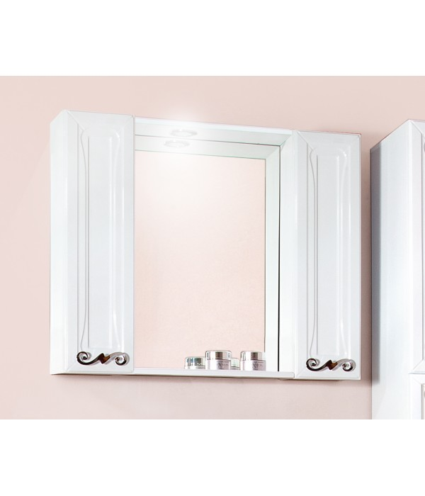Зеркало Бриклаер Адель 85 белый глянец с двумя шкафчиками