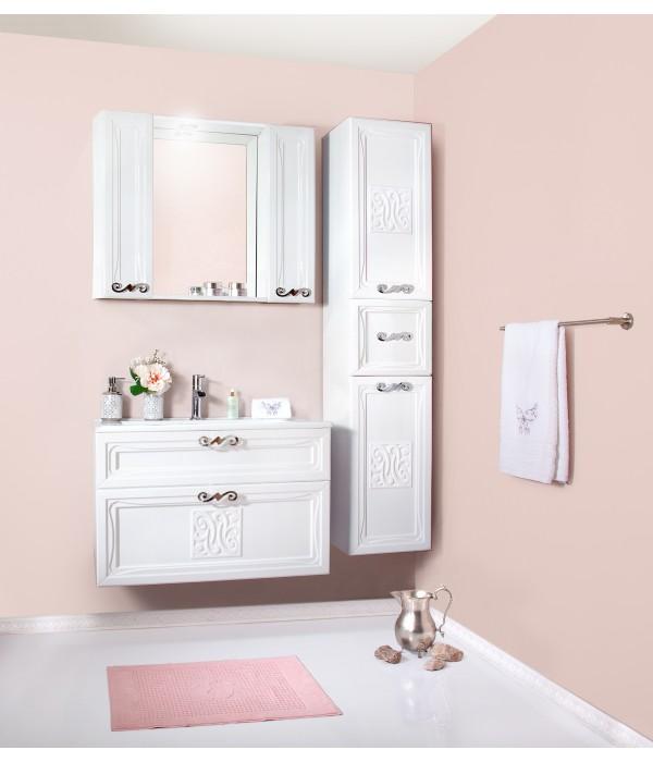 Комплект мебели Бриклаер Адель 85 белый глянец (с двумя шкафчиками)