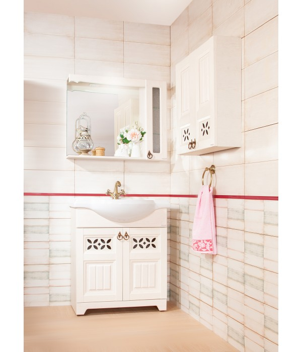 Комплект мебели Бриклаер Кантри 85 Бежевый дуб прованс (зеркало со шкафом)