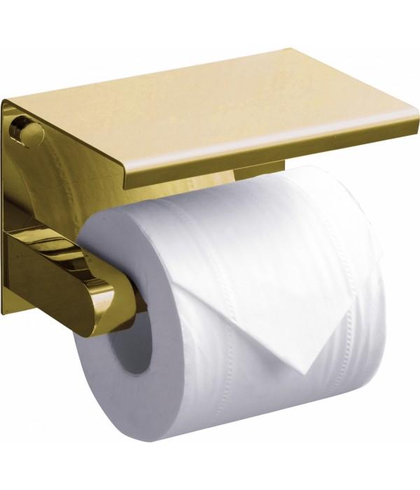 Держатель туалетной бумаги Rush Edge ED77141 Gold с полкой для телефона