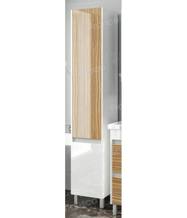 Пенал Francesca Doremi 35 напольный с корзиной белый/ясень