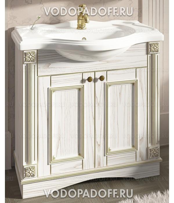 Тумба с раковиной Венеция Аврора 85 цвет: белый с патиной золото