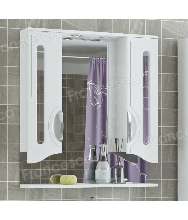 Зеркало-шкаф Francesca Инфинити 80 2С белый 2 шкафа