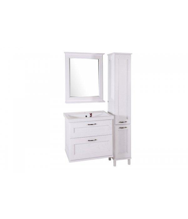 Комплект мебели ASB-Woodline Прато 70 белое, патина серебро