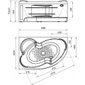Акриловая ванна Radomir Wachter Ирма 3 L с гидромассажем и экраном, форсунки белые