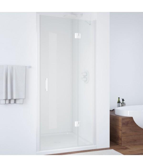 Душевая дверь в нишу Vegas Glass AFP 110 01 01 R вход 63 см, профиль белый, стекло прозрачное