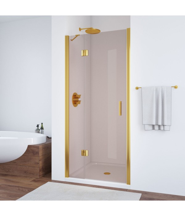 Душевая дверь в нишу Vegas Glass AFP 100 09 05 L профиль золото, стекло бронза
