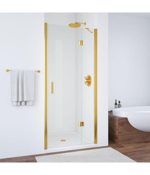 Душевая дверь в нишу Vegas Glass AFP 100 09 01 R профиль золото, стекло прозрачное