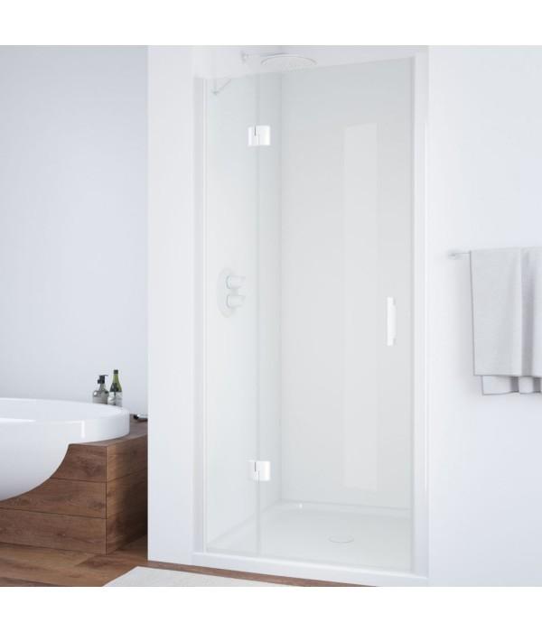 Душевая дверь в нишу Vegas Glass AFP 110 01 01 L вход 73 см, профиль белый, стекло прозрачное
