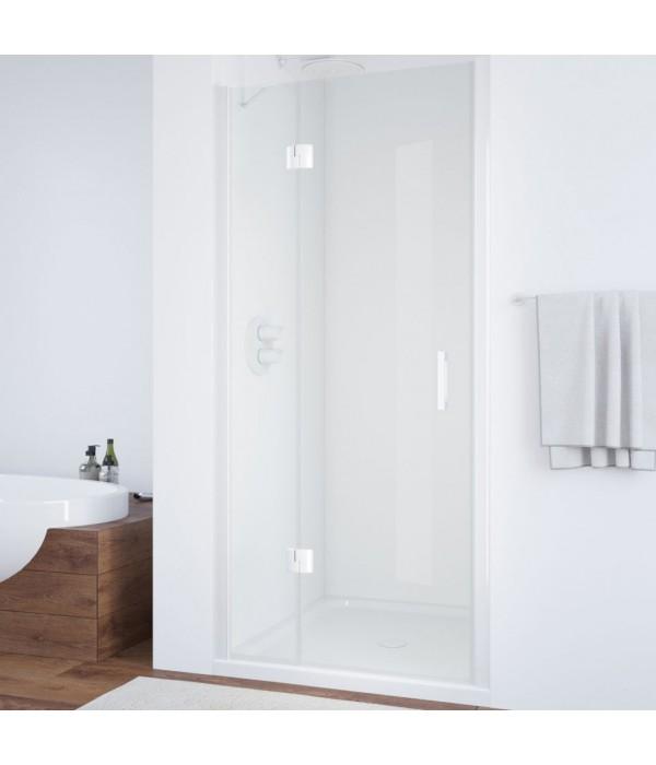 Душевая дверь в нишу Vegas Glass AFP 110 01 01 L вход 63 см, профиль белый, стекло прозрачное