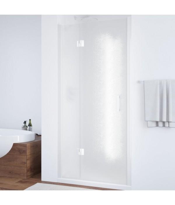 Душевая дверь в нишу Vegas Glass AFP 110 01 02 L вход 63 см, профиль белый, стекло шиншилла