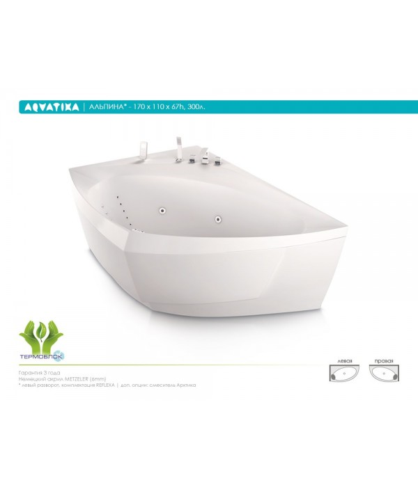 Акриловая ванна Aquatika Альпина 170 BASIC