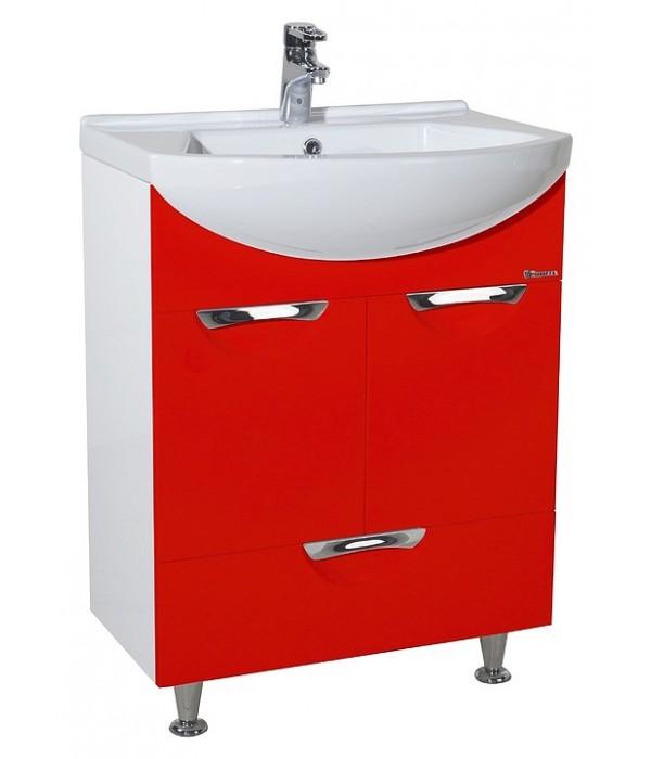 Тумба с раковиной Bellezza Альфа 55 с нижним ящиком, красный