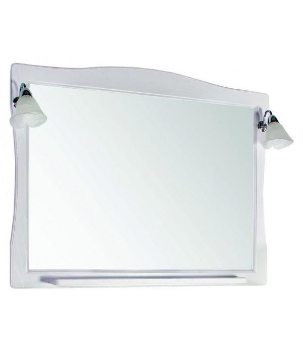 Зеркало ASB-Woodline Модена 105 белое с серебряной патиной массив ясеня
