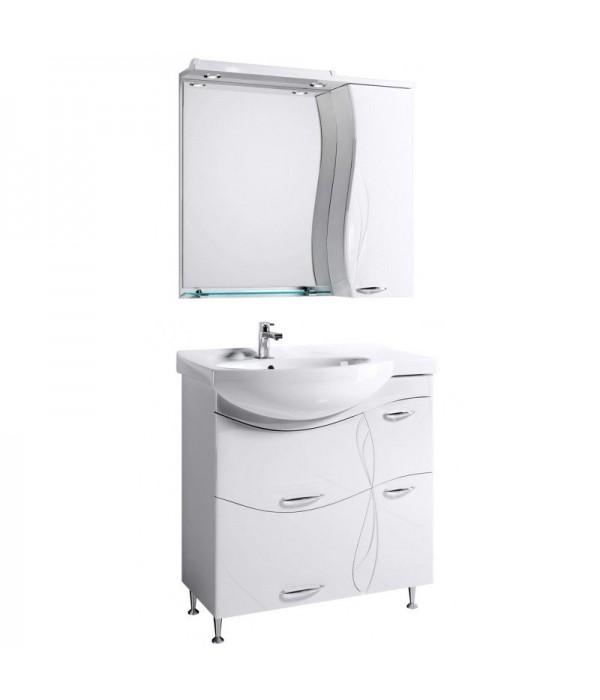 Комплект мебели Alavann Мишель 82, белый чаша слева