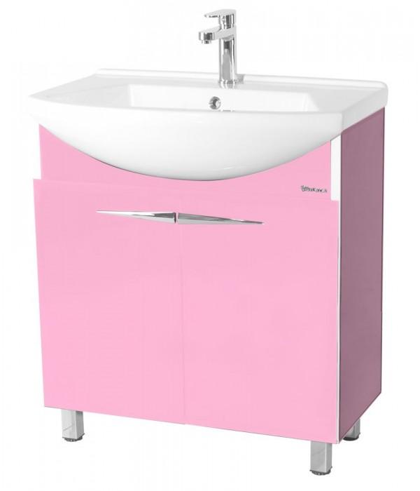 Тумба с раковиной Bellezza Глория Гласс 75, розовый