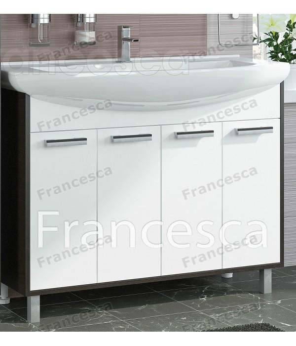 Тумба с раковиной Francesca Eco 105 белый-венге