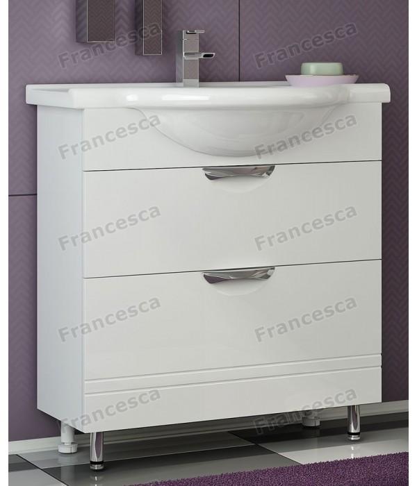 Тумба с раковиной Francesca Доминго 75 (2 ящика) белый (ум. Элеганс 75)