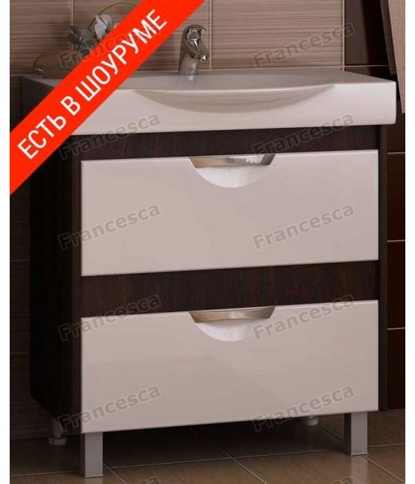 Тумба с раковиной Francesca Клео 75 белый/венге (2 ящика ум. Signo 76)