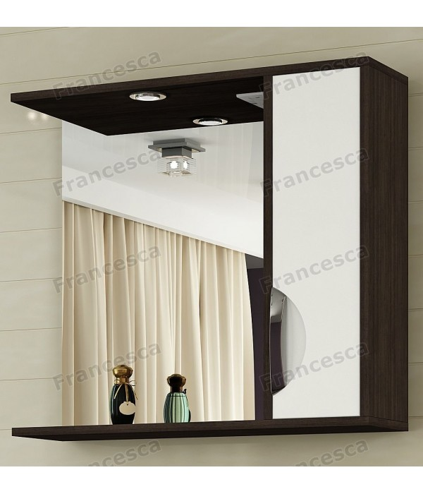 Шкаф-зеркало Francesca Версаль 75 С белый/венге