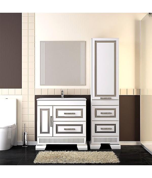 Комплект мебели Opadiris Оникс 80, белый/серебро