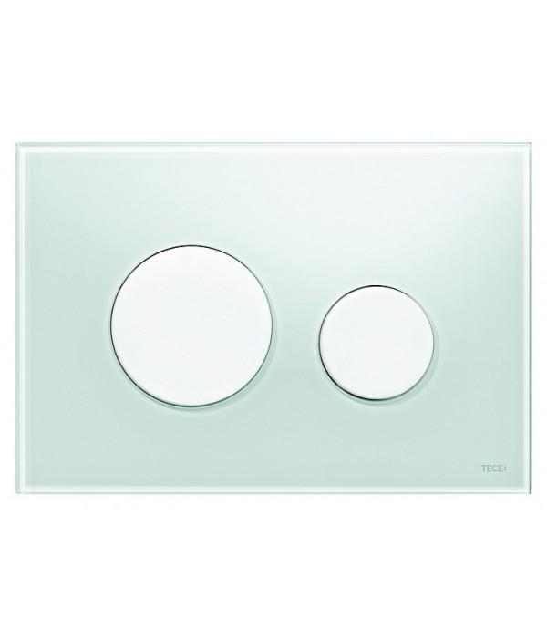 Кнопка смыва TECE Loop 9240651 зеленое стекло, кнопка белая
