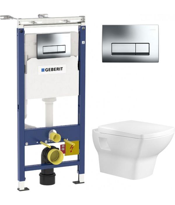 Комплект Инсталляция Geberit Duofix Платтенбау 4 в 1 с кнопкой смыва + Унитаз подвесной Bien Dor