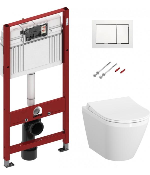 Комплект Система инсталляции для унитазов TECE Base + Чаша для унитаза подвесного VitrA Integra 7040B003-0075 + Крышка-сиденье VitrA 110-003-019