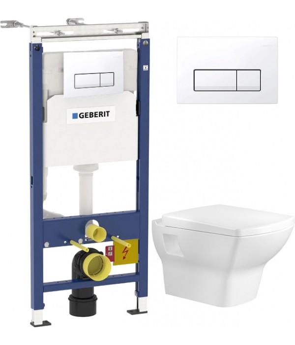Комплект Инсталляция Geberit Duofix Платтенбау 4 в 1 с белой кнопкой смыва + Унитаз подвесной Bien Dor