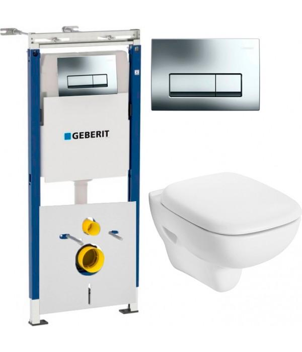 Комплект Инсталляция Geberit Duofix Платтенбау 4 в 1 с кнопкой хром + Унитаз IFO Sjoss Rimfree безободковый + Шумоизоляция