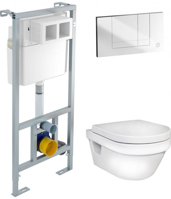 Комплект Инсталляция Gustavsberg EasyMont 3 в 1 с белой кнопкой + Унитаз Gustavsberg Hygienic Flush WWC безободковый
