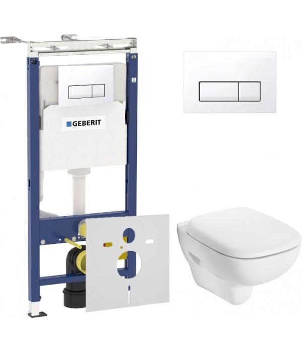 Комплект Инсталляция Geberit Duofix Платтенбау 4 в 1 с белой кнопкой + Унитаз IFO Sjoss Rimfree + Шумоизоляция