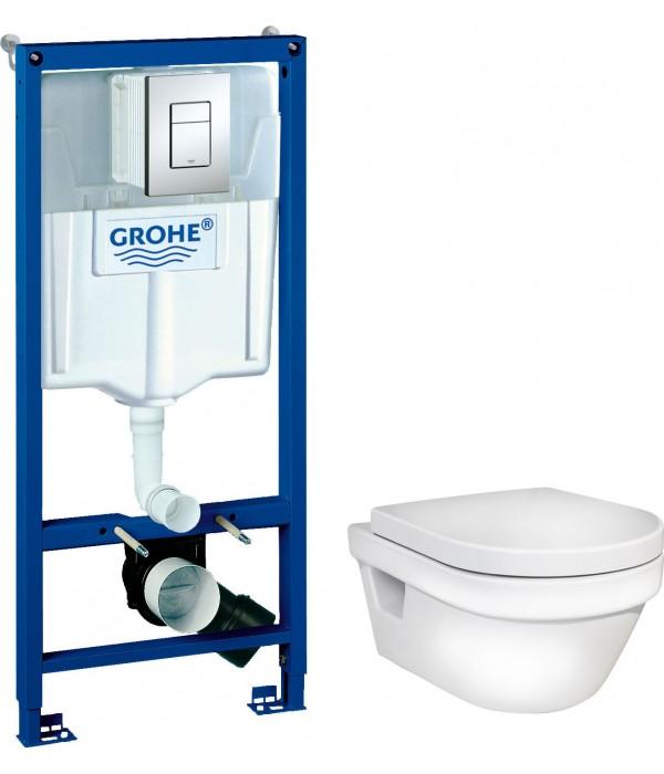 Комплект Инсталляция Grohe Rapid SL 3 в 1 с кнопкой хром + Унитаз Gustavsberg Hygienic Flush безободковый