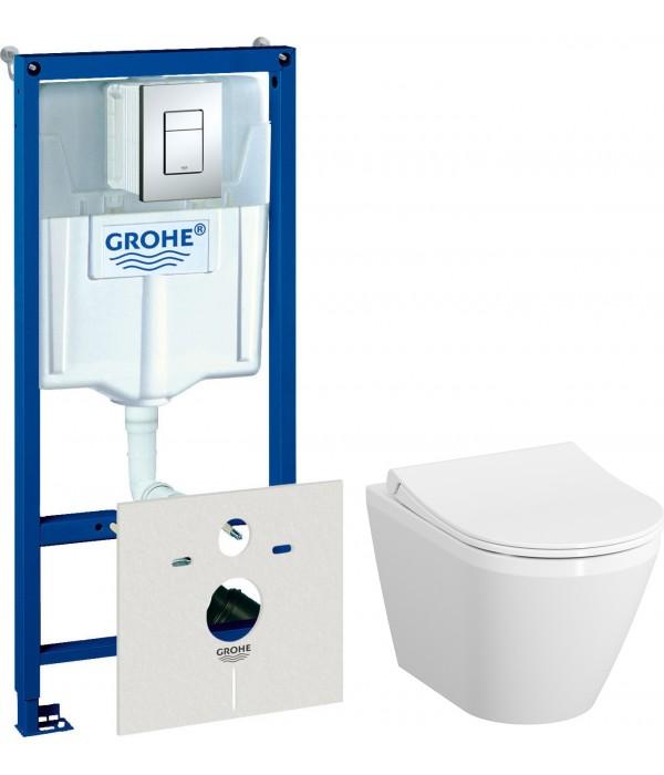 Комплект Система инсталляции для унитазов Grohe Rapid SL 38775001 4 в 1 с кнопкой смыва + Чаша для унитаза подвесного VitrA Integra 7040B003-0075 + Крышка-сиденье VitrA 110-003-019
