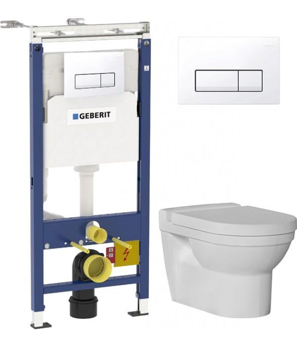Комплект Инсталляция Geberit Duofix Платтенбау 4 в 1 с белой кнопкой смыва + Унитаз подвесной Bien Orion с биде