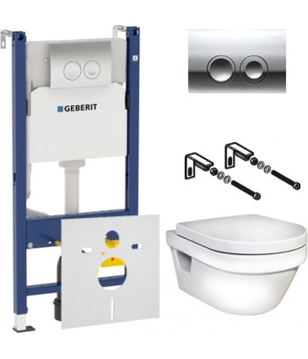 Комплект Инсталляция Geberit Duofix Delta 3 в 1 с кнопкой хром + Унитаз Gustavsberg Hygienic Flush WWC безободковый + Шумоизоляция
