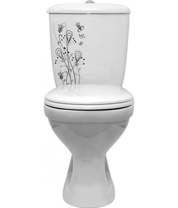Унитаз-компакт Оскольская керамика Суперкомпакт декор цветы