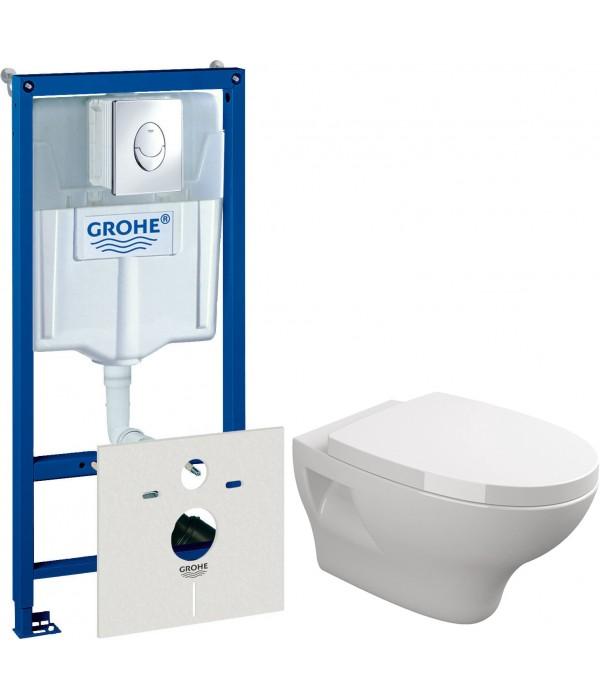 Комплект Система инсталляции для унитазов Grohe Rapid SL 38750001 4 в 1 с кнопкой смыва + Чаша для унитаза подвесного Sanitana Pop + Крышка-сиденье Sanitana Pop с микролифтом