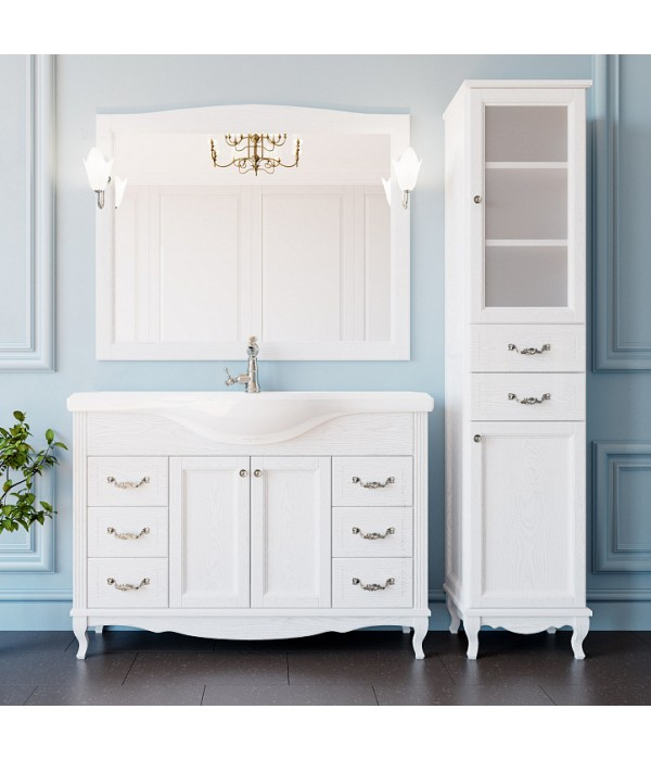 Комплект мебели ValenHouse Эллина 120 белая, фурнитура хром