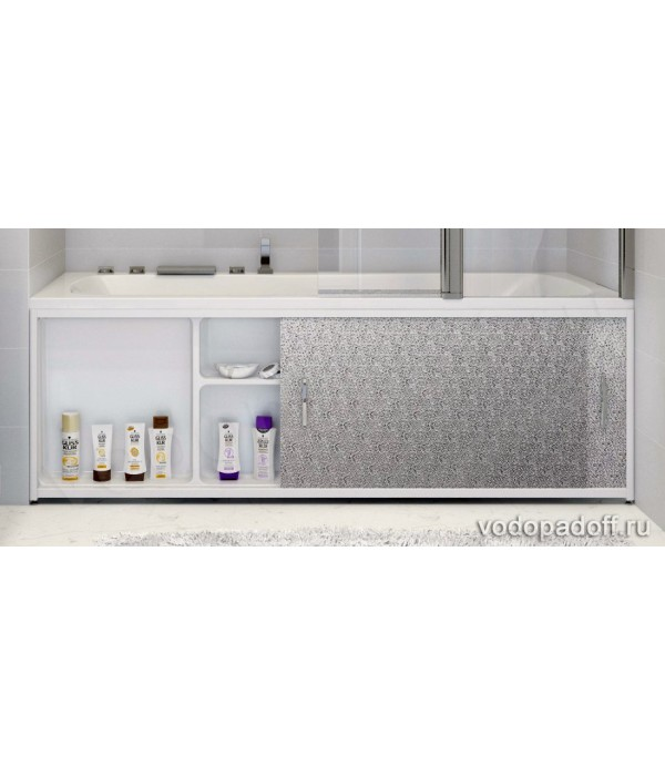 Экран под ванну с полочкой Francesca Premium 1.5/1.7/1.8  игристый лёд серебро