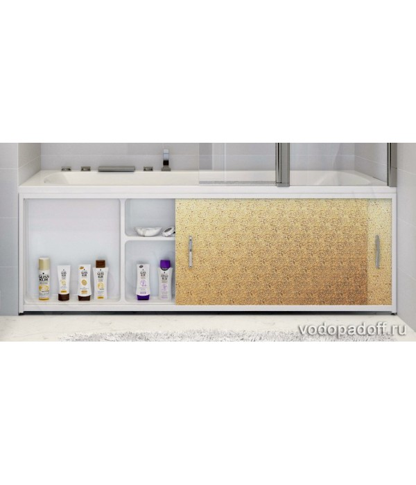 Экран под ванну с полочкой Francesca Premium 1.5/1.7/1.8  игристый лёд золото