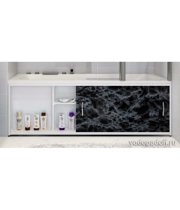 Экран под ванну с полочкой Francesca Premium 1.5/1.7/1.8  чёрный мрамор