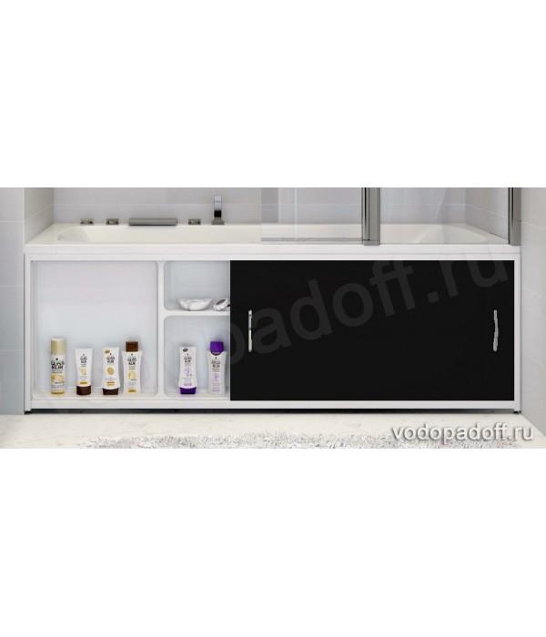 Экран под ванну с полочкой Francesca Premium 1.5/1.7/1.8 чёрный