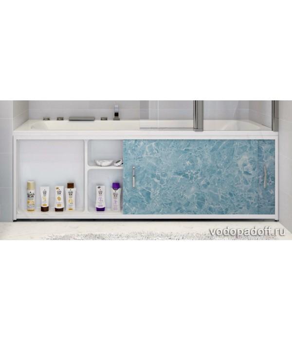 Экран под ванну с полочкой Francesca Premium 1.5/1.7/1.8 голубой мрамор