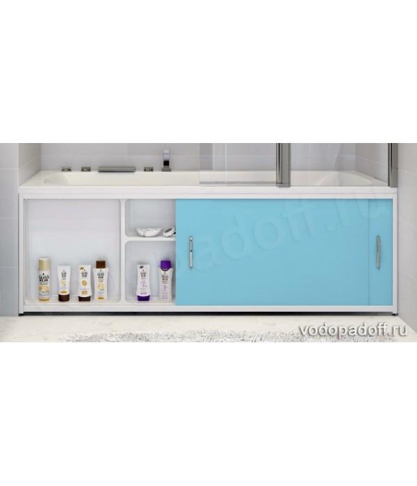 Экран под ванну с полочкой Francesca Premium 1.5/1.7/1.8 голубой