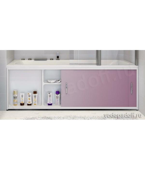 Экран под ванну с полочкой Francesca Premium 1.5/1.7/1.8 розовый металик