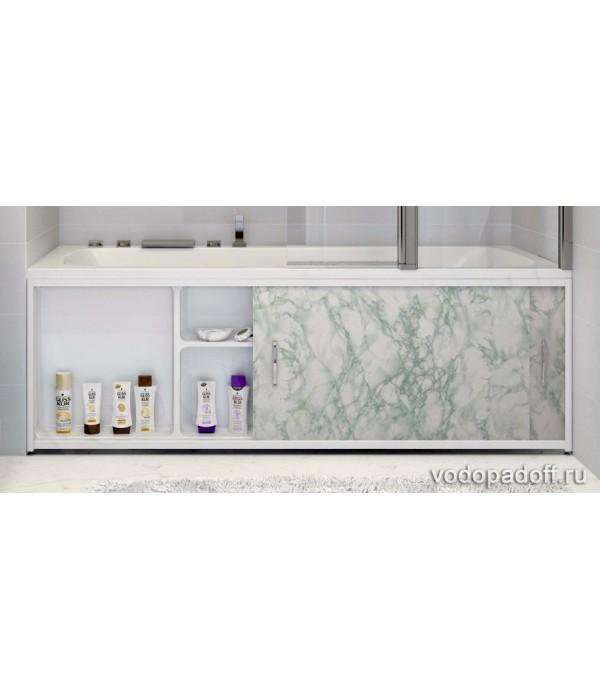 Экран под ванну с полочкой Francesca Premium 1.5/1.7/1.8 салатовый мрамор