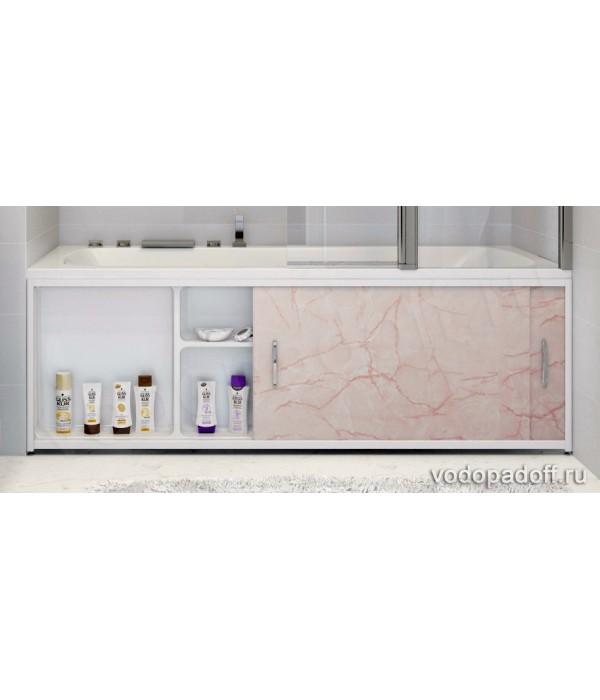 Экран под ванну с полочкой Francesca Premium 1.5/1.7/1.8 светлорозовый мрамор