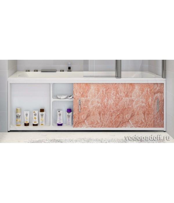 Экран под ванну с полочкой Francesca Premium 1.5/1.7/1.8 тёмнорозовый мрамор
