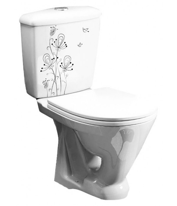 Унитаз-компакт Оскольская керамика Радуга декор цветы